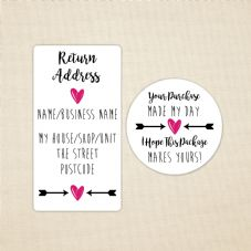 Return Address Labels - Pink Heart And Arrow Design